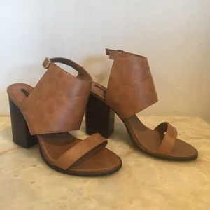 Camel two strap block heel
